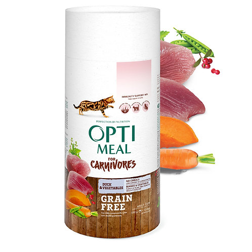 OPTIMEAL - Grain free complete dry pet food for adult cats - duck and veggies