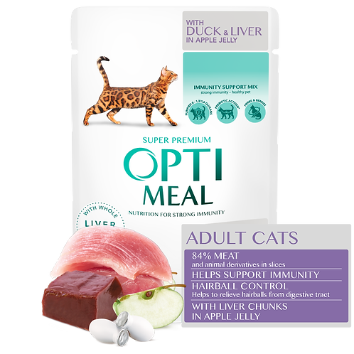 OPTIMEAL - Hairball Control - Duck and Slices of Liver in apple jelly