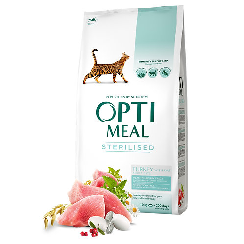 OPTIMEAL - Complete dry pet food for sterilised cats - turkey and oat