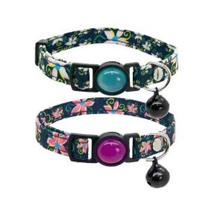 Jewelled Floral Denim Cat Collar