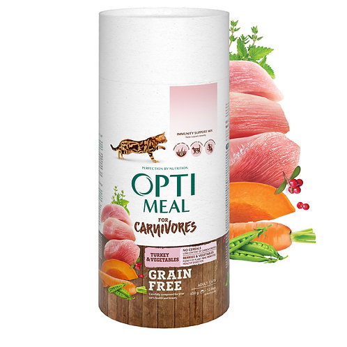 OPTIMEAL - Grain free complete dry pet food for adult cats - turkey and veggies