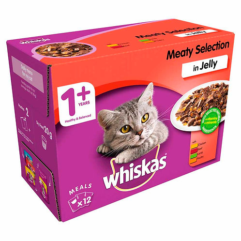 WHISKAS ADULT MEAT SELECTION BOX - 12X100G