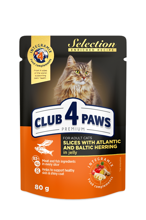 """CLUB 4 PAWS Premium """"Slices with atlantic herring  and baltic herring in jelly""""."""