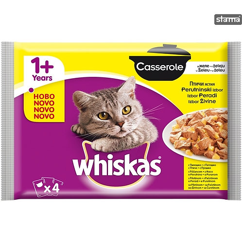WHISKAS CASSEROLE POULTRY SELECTION 4PACK - 4X85G