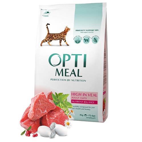 OPTIMEAL - Complete dry pet food for adult cats high in veal