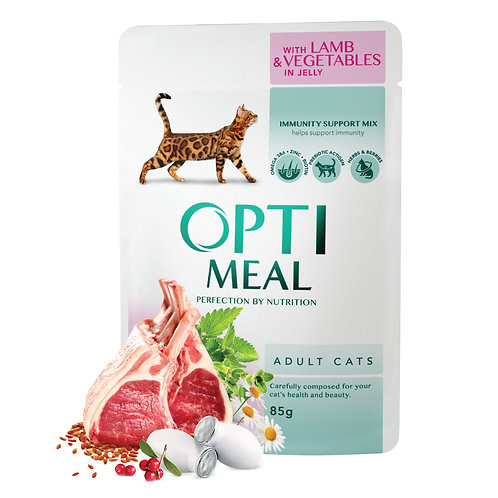 OPTIMEAL - Complete Wet Food for Adult Cats - Lamb and Veggies