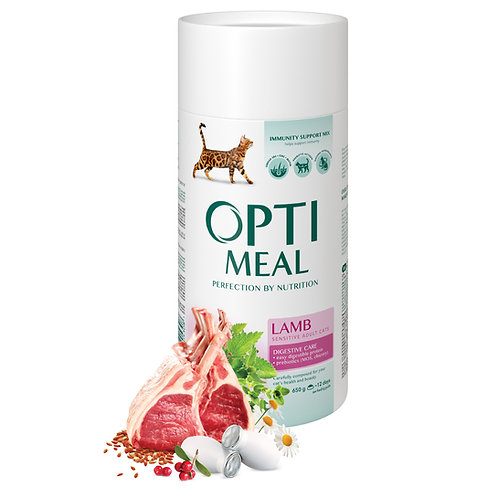 OPTIMEAL - Complete dry pet food for adult cats with sensitive digestion - Lamb