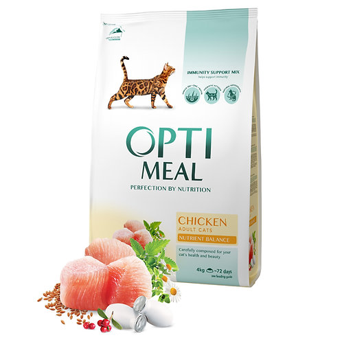 OPTIMEAL - Complete dry pet food for adult cats - Chicken
