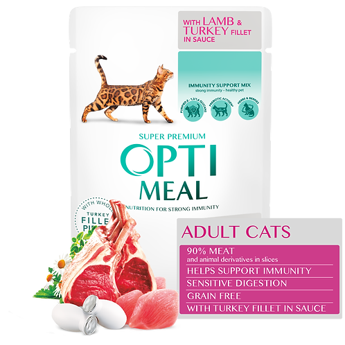 OPTIMEAL - Grain Free for Cats with Sensitive Digestion - Lamb and Turkey