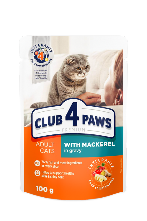 "CLUB 4 PAWS Premium ""With mackerel in gravy"".  Pouches pet food for adult cats"