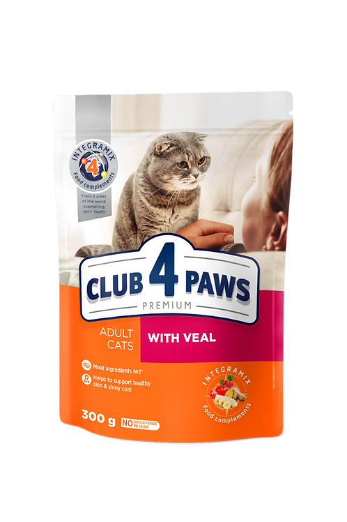 """CLUB 4 PAWS Premium """"With veal"""". Сomplete dry pet food for adult cats"""