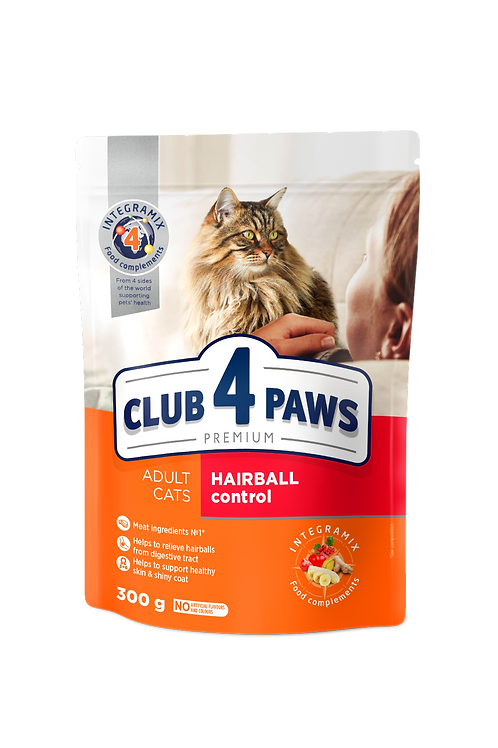 """CLUB 4 PAWS Premium """"Hairball control"""". Сomplete dry pet food for adult cats"""