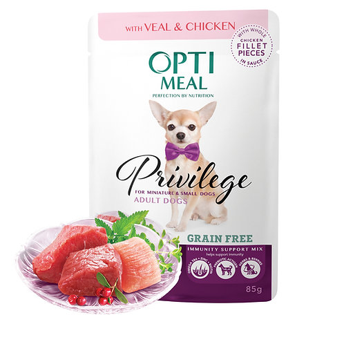 OPTIMEAL - Wet Food for Miniature and Small Breeds - Veal with Chicken fillet