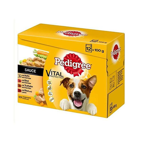 PEDIGREE SELECTION BOX BEEF AND CHICKEN WITH VEGETABLES IN SAUCE - 12X100G