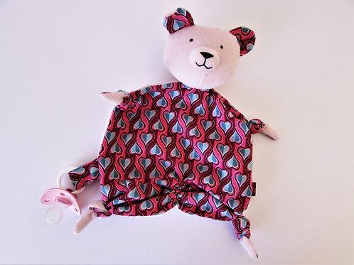 Zipfeltuch - Bär rosa retro