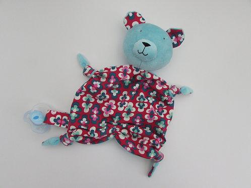 Zipfeltuch - Bär mint/retro Blumen