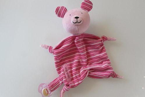Zipfeltuch -Bär rosa Streiffen