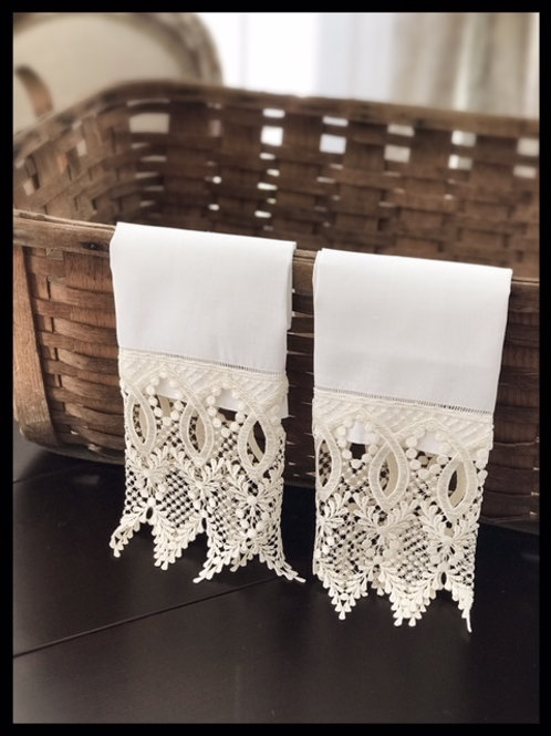Pair / White Linen Hand Towels with Florence Loop Lace