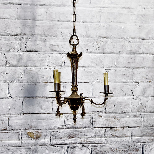 Vintage Brass 3 Arm Chandelier from Italy