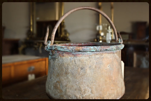1920's Antique Hand Forged Copper Pot