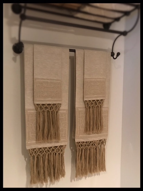 Linen Bath and Hand Towel Set with Hand Knotted Fringe