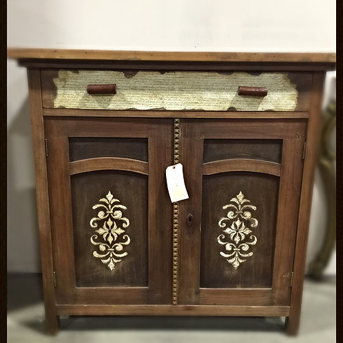 1960's Vintage Decorative Cabinet with Double Doors and Drawer