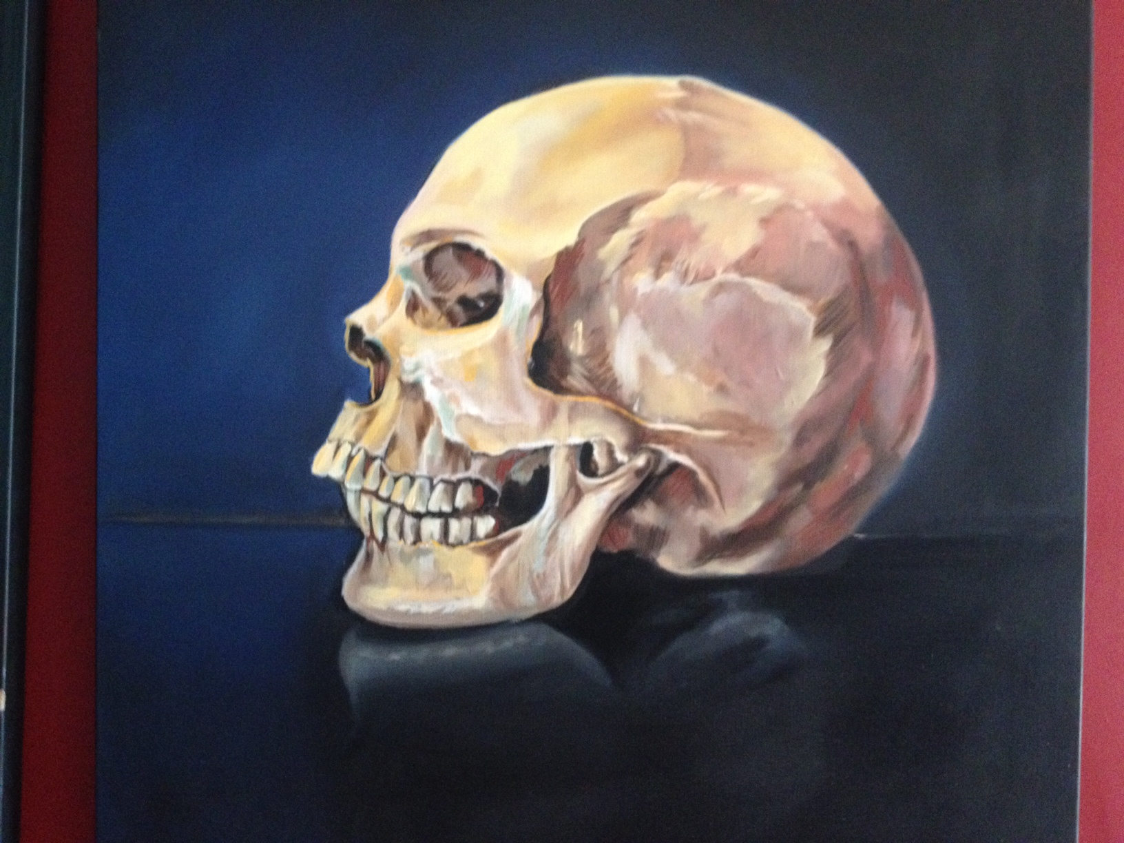 Skull portrait. oil painting