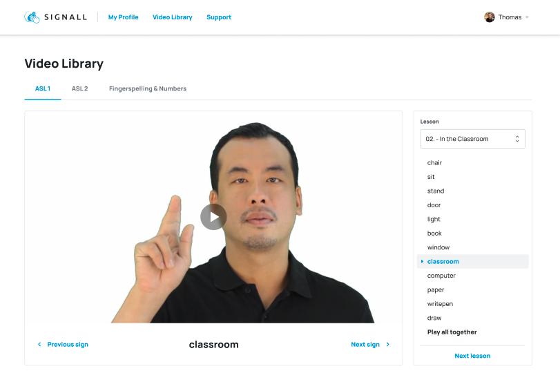 SignAll Learn UI