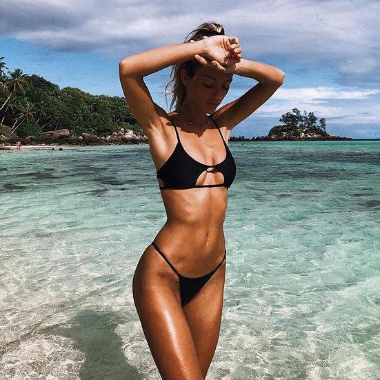 Sexy Bikini Women's Swimwear Solid Color High Waist