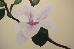 Hand -Painted Magnolia Mural For Hair Sa