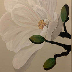 Hand-painted Magnolia Mural by Nora Ujva