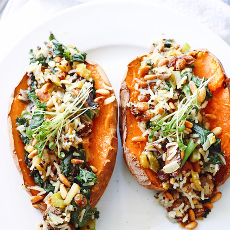 Wild Rice Stuffing Loaded Sweet Potatoes