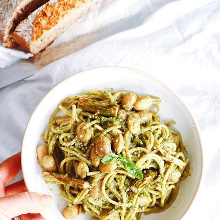 Avocado Pesto Pasta w/ Roasted Asparagus & White Beans