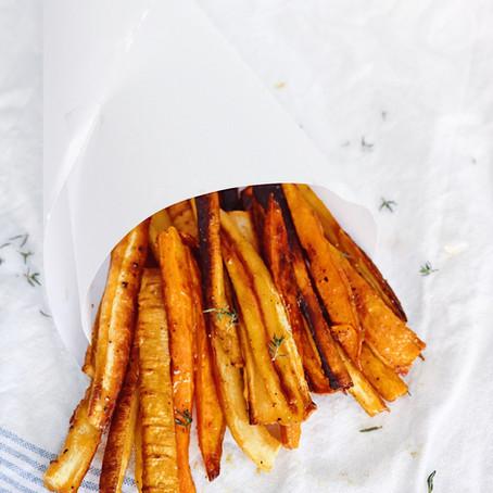 Maple Mustard Glazed Parsnips & Sweet Potatoes