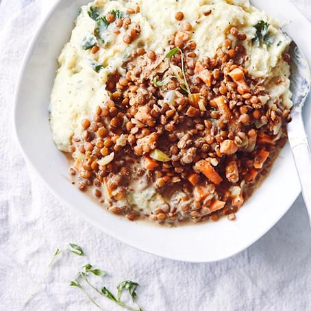 Easy Lentil Stew w/ Kale Mashed Potatoes