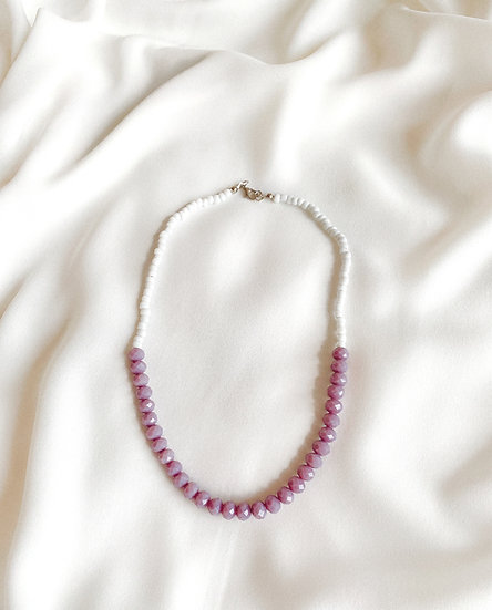 Lavender and White Faceted Glass Beaded Necklace