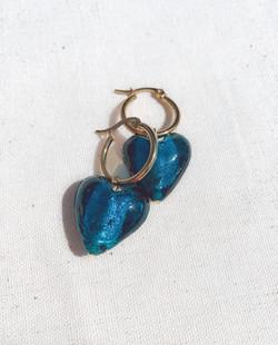 Teal Blue Murano Glass Heart Gold Hoop Earrings