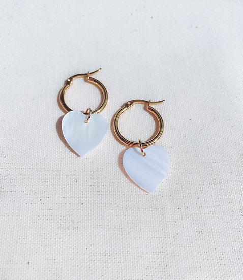 Mother Of Pearl Heart Hoop Earrings