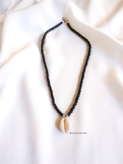 Black Beaded Shell Necklace