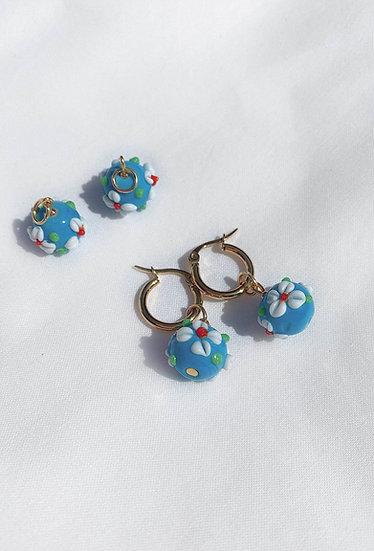 Matte Blue Lampwork Flower Hoop Earrings