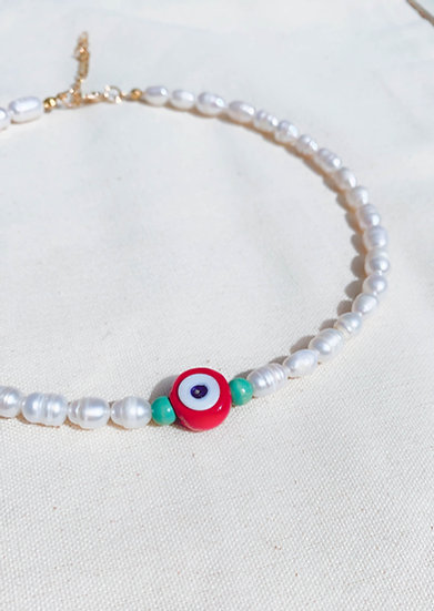 Red Evil Eye Freshwater Pearl Necklace