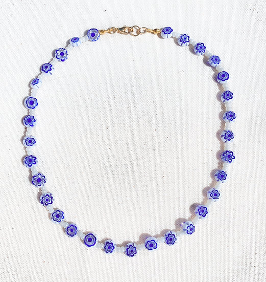 Blue White Murano Millefiori Necklace With Gold Tone Clasp