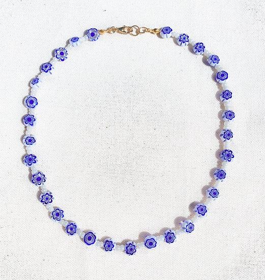 Blue White Murano Millefiori Necklace With Gold Tone Clasp