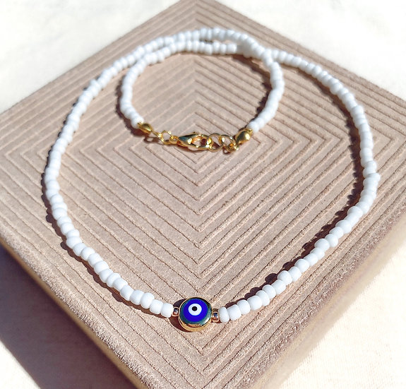 White Lucky Evil Eye Necklace With Gold Clasps