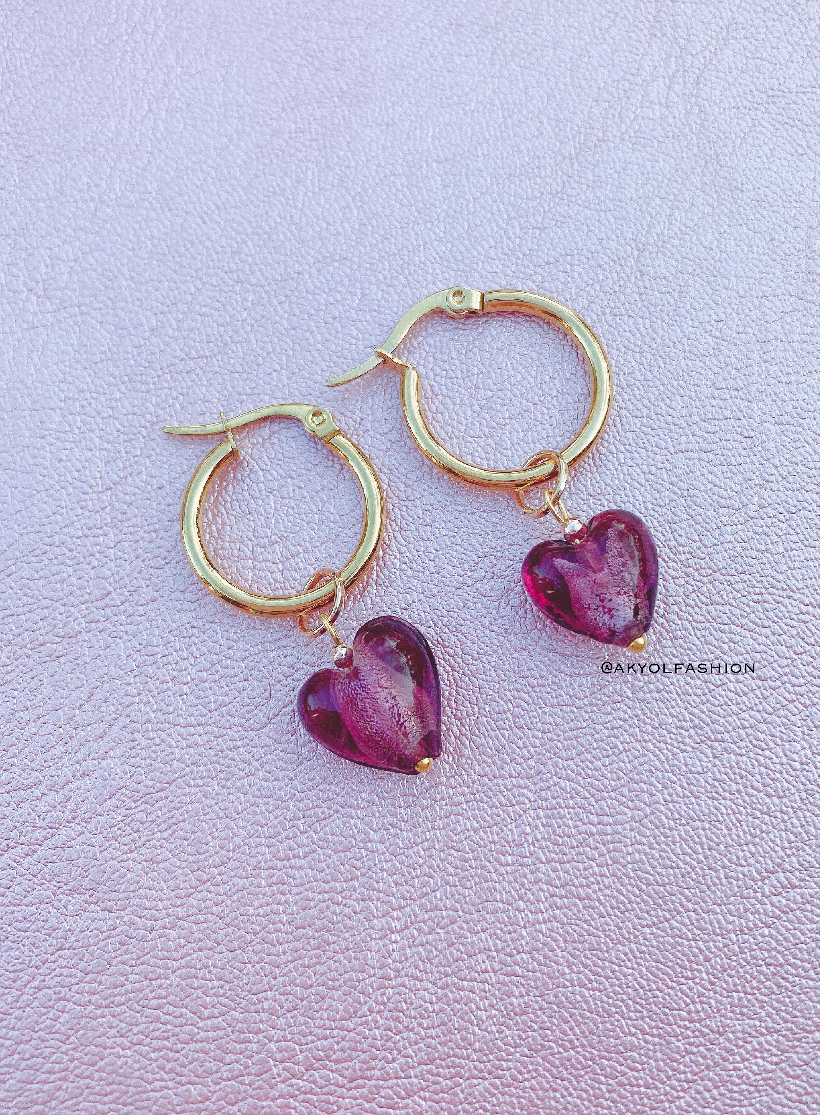 Gold Purple Heart Hoop Earrings