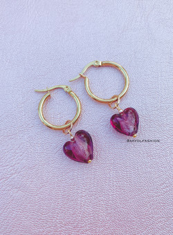 Gold Purple Heart Hoop Earrings