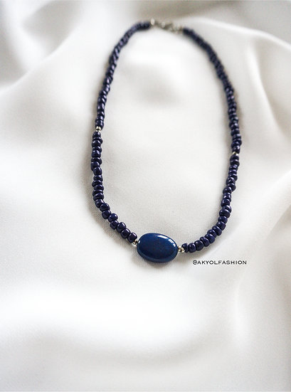 Dark Blue Necklace With Natural Stone