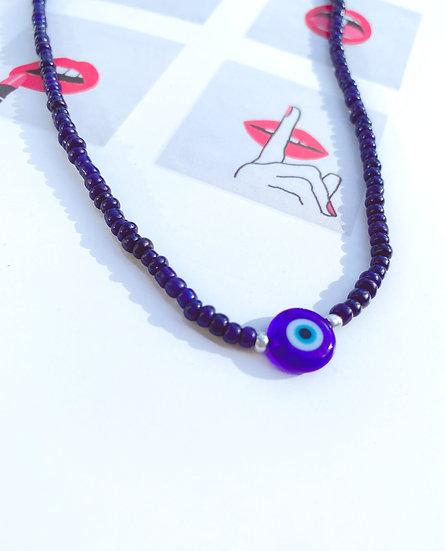 Dark Blue Lucky Evil Eye Necklace With Evil Eye Bead