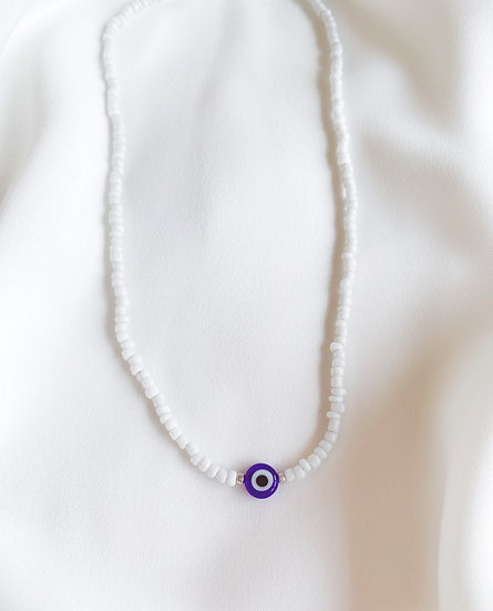 White Lucky Evil Eye Necklace With Dark Blue Glass Evil Eye
