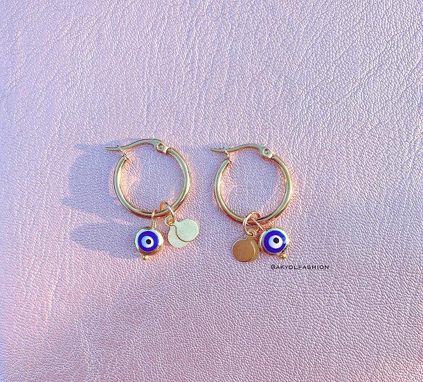 Dark Blue Lucky Evil Eye Gold Hoop Earrings, Stainless Steel